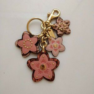 COACH 90033 Leather Pink Gold Flowers Floral Charm